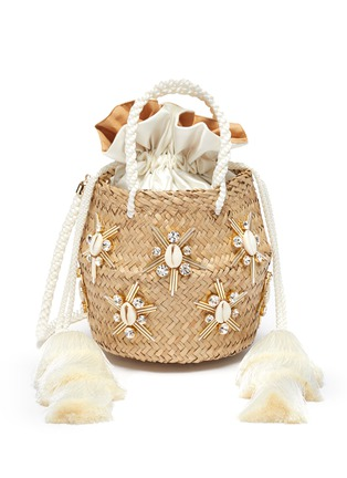 Main View - Click To Enlarge - LE NINÈ - 'Carol' small shell embellished tassel strap basket bag