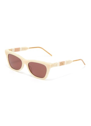 Main View - Click To Enlarge - GUCCI - Marble effect acetate frame cat eye sunglasses