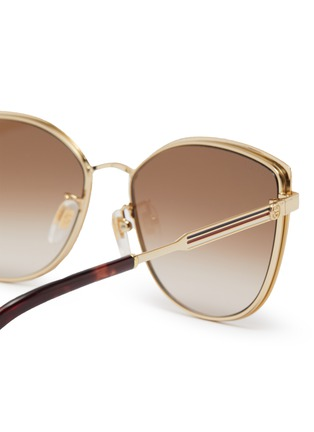 Detail View - Click To Enlarge - GUCCI - Large D-frame acetate frame metal temples sunglasses