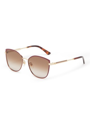 Main View - Click To Enlarge - GUCCI - Large D-frame acetate frame metal temples sunglasses