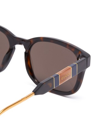 Detail View - Click To Enlarge - GUCCI - Tortoiseshell effect acetate frame square sunglasses