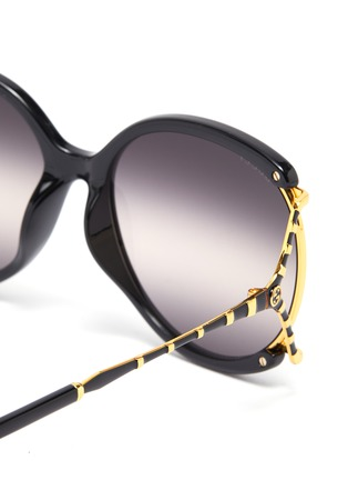 Detail View - Click To Enlarge - GUCCI - Large square y-shape temple metal frame round sunglasses