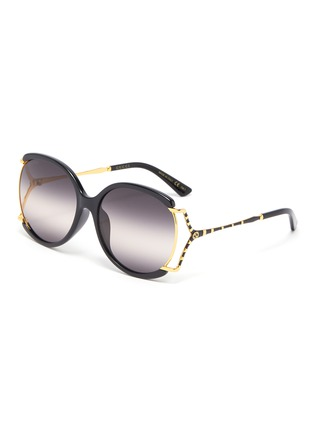 Main View - Click To Enlarge - GUCCI - Large square y-shape temple metal frame round sunglasses