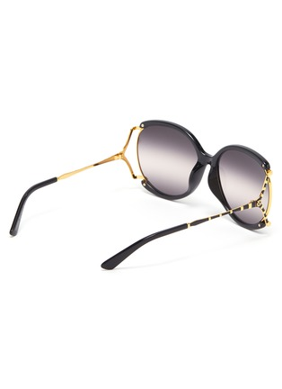 Figure View - Click To Enlarge - GUCCI - Large square y-shape temple metal frame round sunglasses