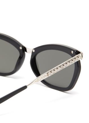 Detail View - Click To Enlarge - GUCCI - Glass crystal bridge acetate metal frame rectanglular sunglasses
