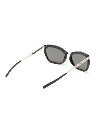 Figure View - Click To Enlarge - GUCCI - Glass crystal bridge acetate metal frame rectanglular sunglasses