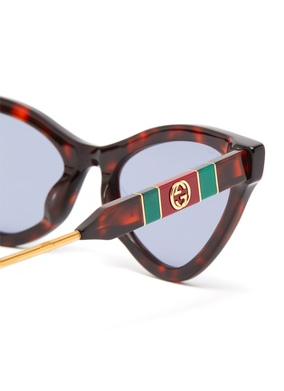 Detail View - Click To Enlarge - GUCCI - Tortoiseshell effect acetate frame cat eye sunglasses