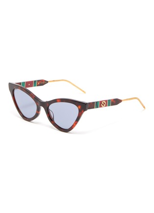 Main View - Click To Enlarge - GUCCI - Tortoiseshell effect acetate frame cat eye sunglasses