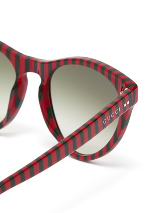 Detail View - Click To Enlarge - GUCCI - Stripe acetate cat eye sunglasses