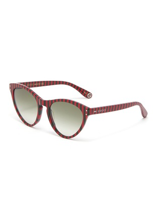 Main View - Click To Enlarge - GUCCI - Stripe acetate cat eye sunglasses
