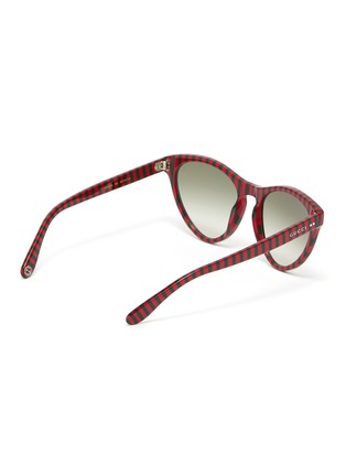 Figure View - Click To Enlarge - GUCCI - Stripe acetate cat eye sunglasses