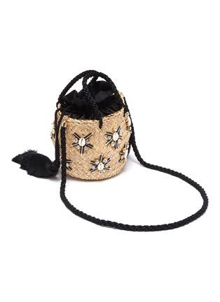 Detail View - Click To Enlarge - LE NINÈ - 'Carol' small shell embellished tassel strap small basket bag