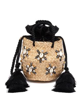 Main View - Click To Enlarge - LE NINÈ - 'Carol' small shell embellished tassel strap small basket bag