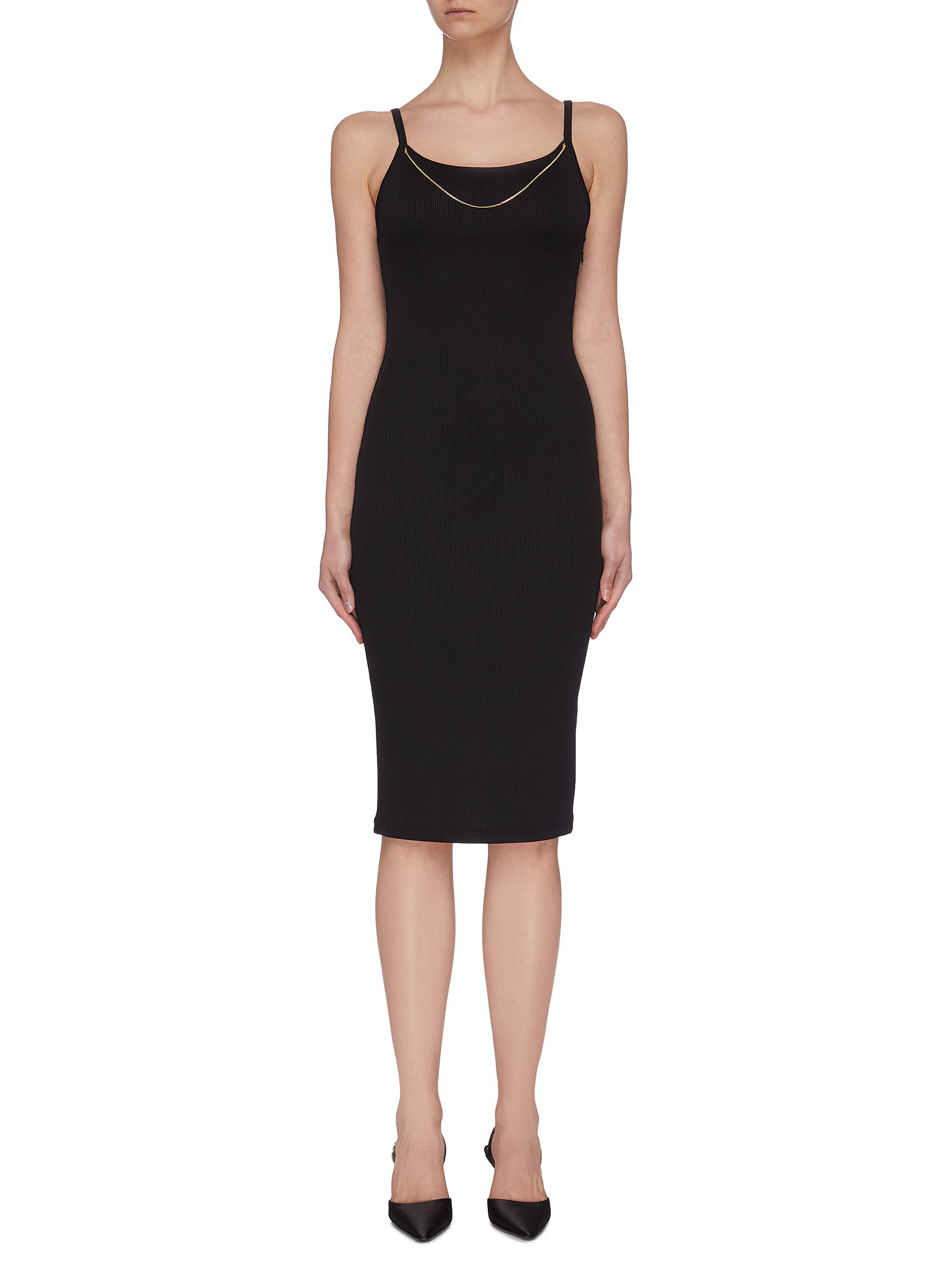 Buy Alexanderwang.T Dresses 'Bodycon' Chain detail rib knit slip on dress