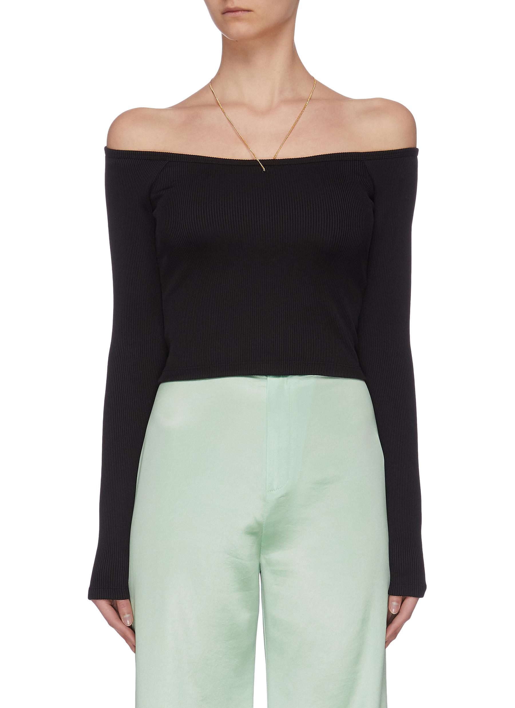 Buy Alexanderwang.T Knitwear 'Bodycon' chain detail off shoulder top