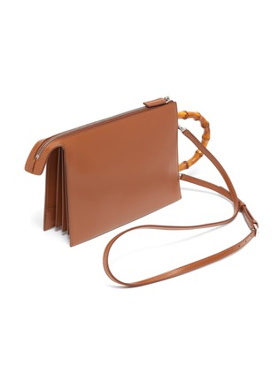 Detail View - Click To Enlarge - JIL SANDER - 'Tootie' bamboo handle small leather clutch