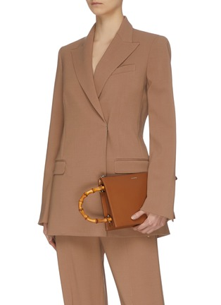 Front View - Click To Enlarge - JIL SANDER - 'Tootie' bamboo handle small leather clutch