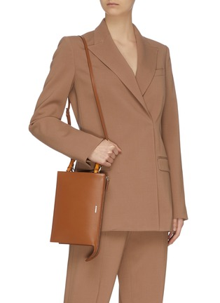 Figure View - Click To Enlarge - JIL SANDER - 'Tootie' bamboo handle small leather clutch