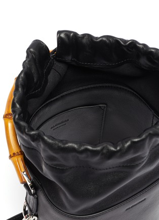 Detail View - Click To Enlarge - JIL SANDER - Bamboo handle small leather bucket bag