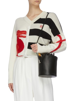 Front View - Click To Enlarge - JIL SANDER - Bamboo handle small leather bucket bag