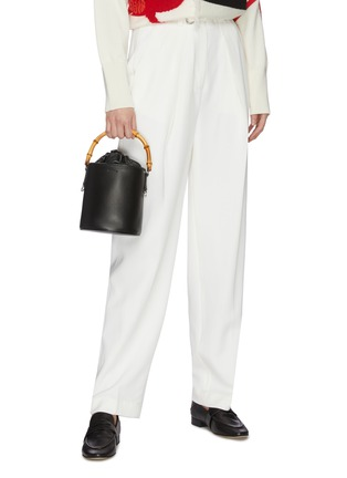 Figure View - Click To Enlarge - JIL SANDER - Bamboo handle small leather bucket bag
