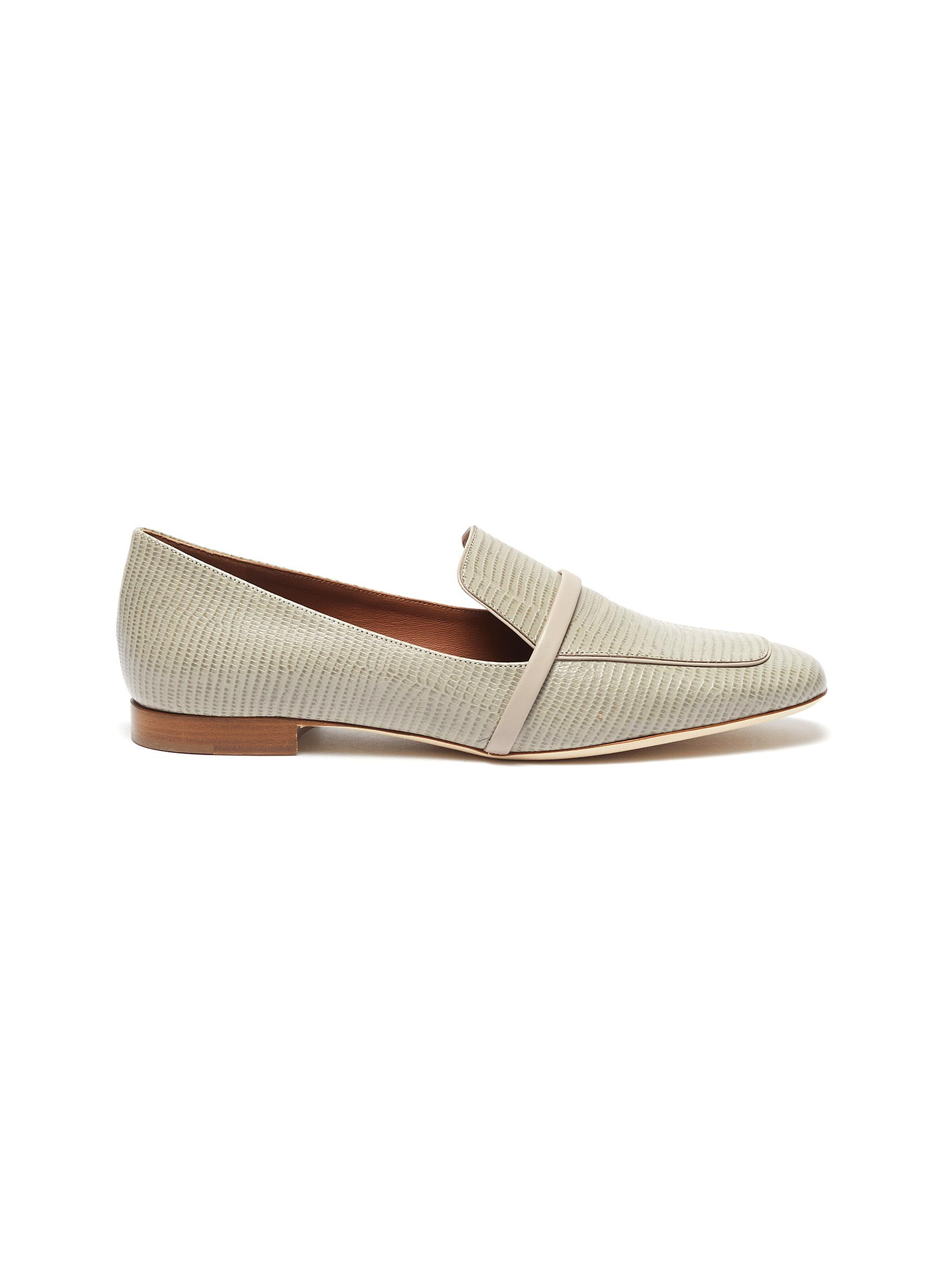 Malone Souliers Flats Jane lizard print leather loafers