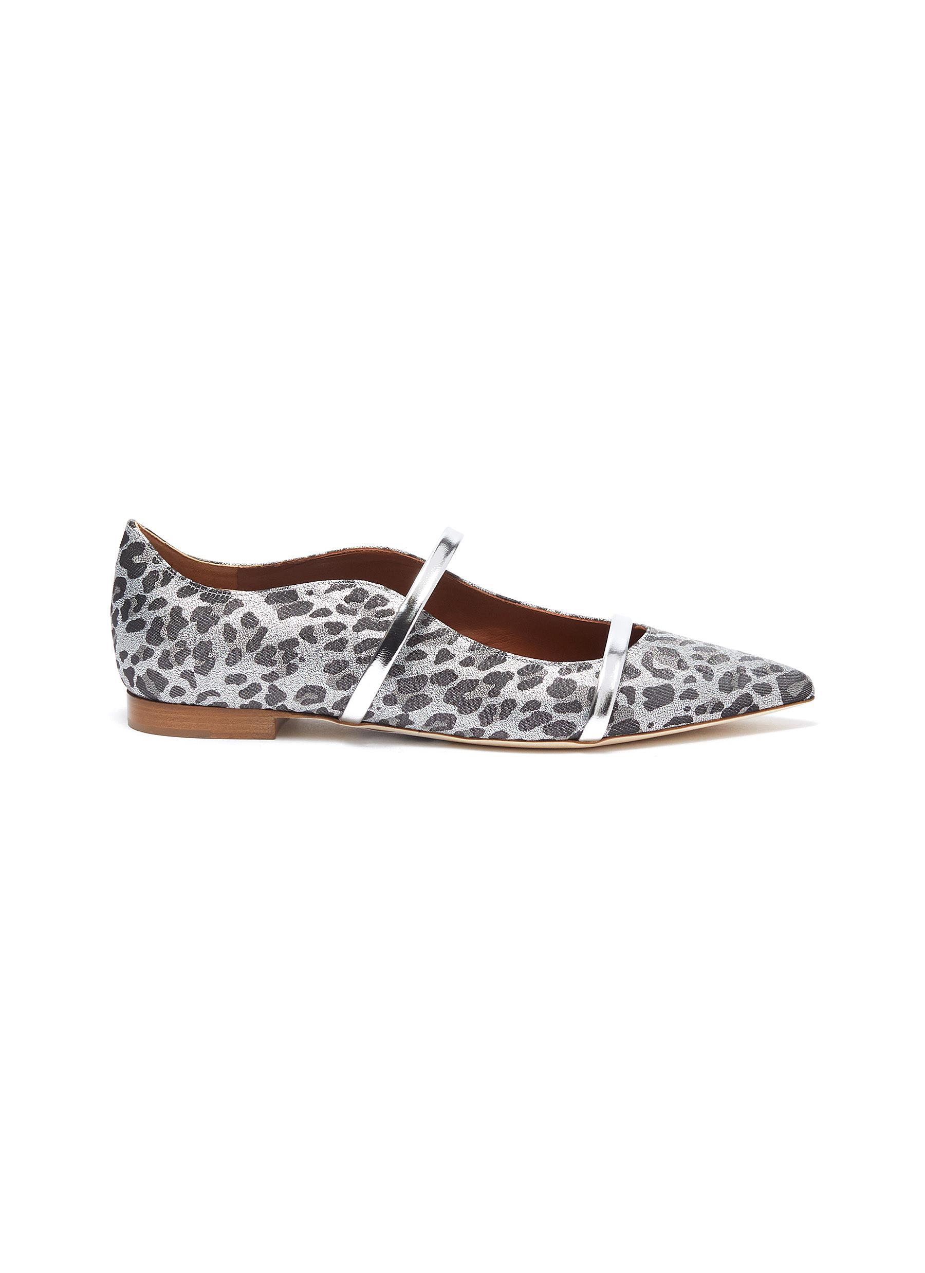 Malone Souliers Flats Maureen strappy leopard print ballerina flats