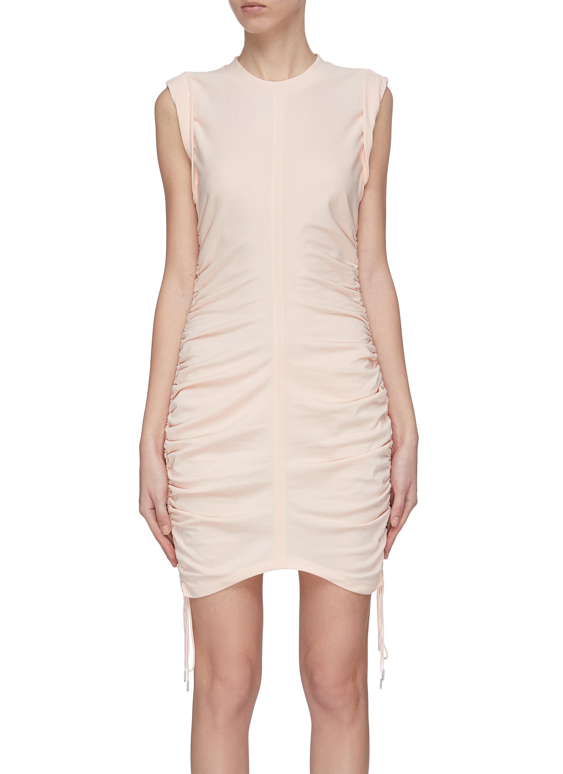 shop Alexanderwang.T 'Wash + Go' gathered drawstring mini dress online