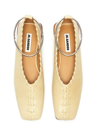 Detail View - Click To Enlarge - JIL SANDER - Metal ankle ring stitching detail ballerina flats