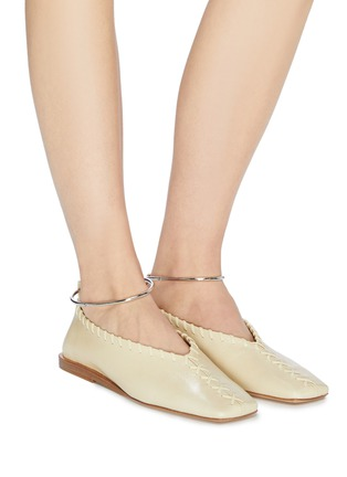 Figure View - Click To Enlarge - JIL SANDER - Metal ankle ring stitching detail ballerina flats