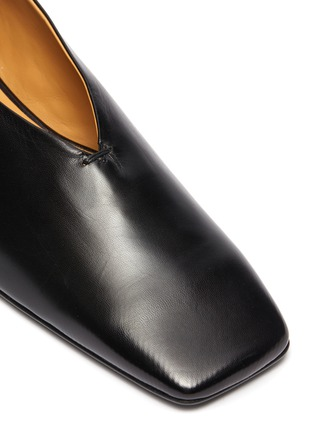 Detail View - Click To Enlarge - JIL SANDER - Bamboo ankle ring leather ballerina flats