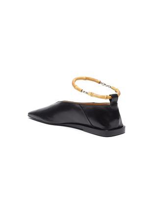 - JIL SANDER - Bamboo ankle ring leather ballerina flats