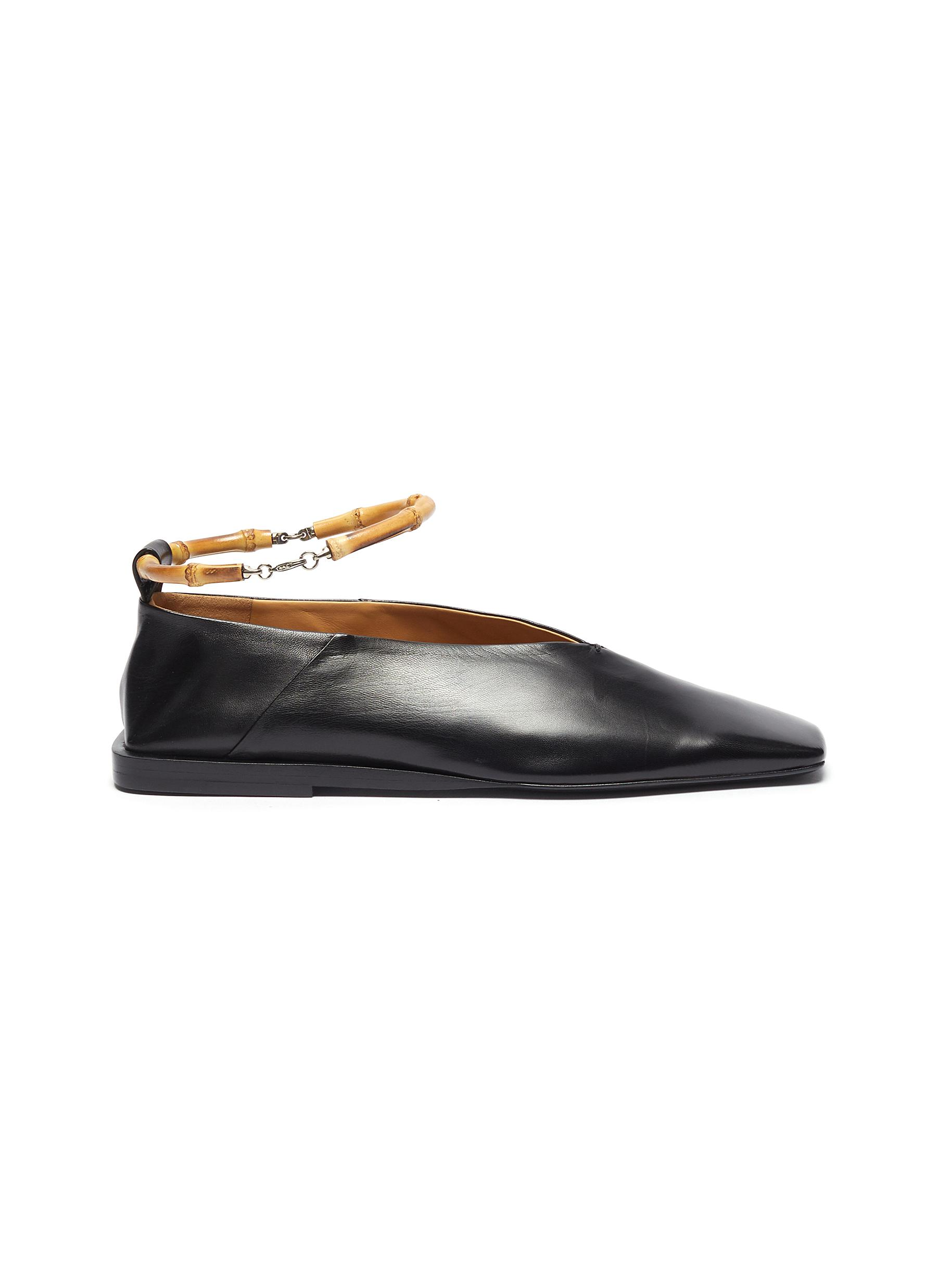Jil Sander Flats Bamboo ankle ring leather ballerina flats