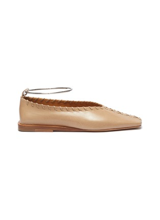 Main View - Click To Enlarge - JIL SANDER - Metal ankle ring stitching detail ballerina flats