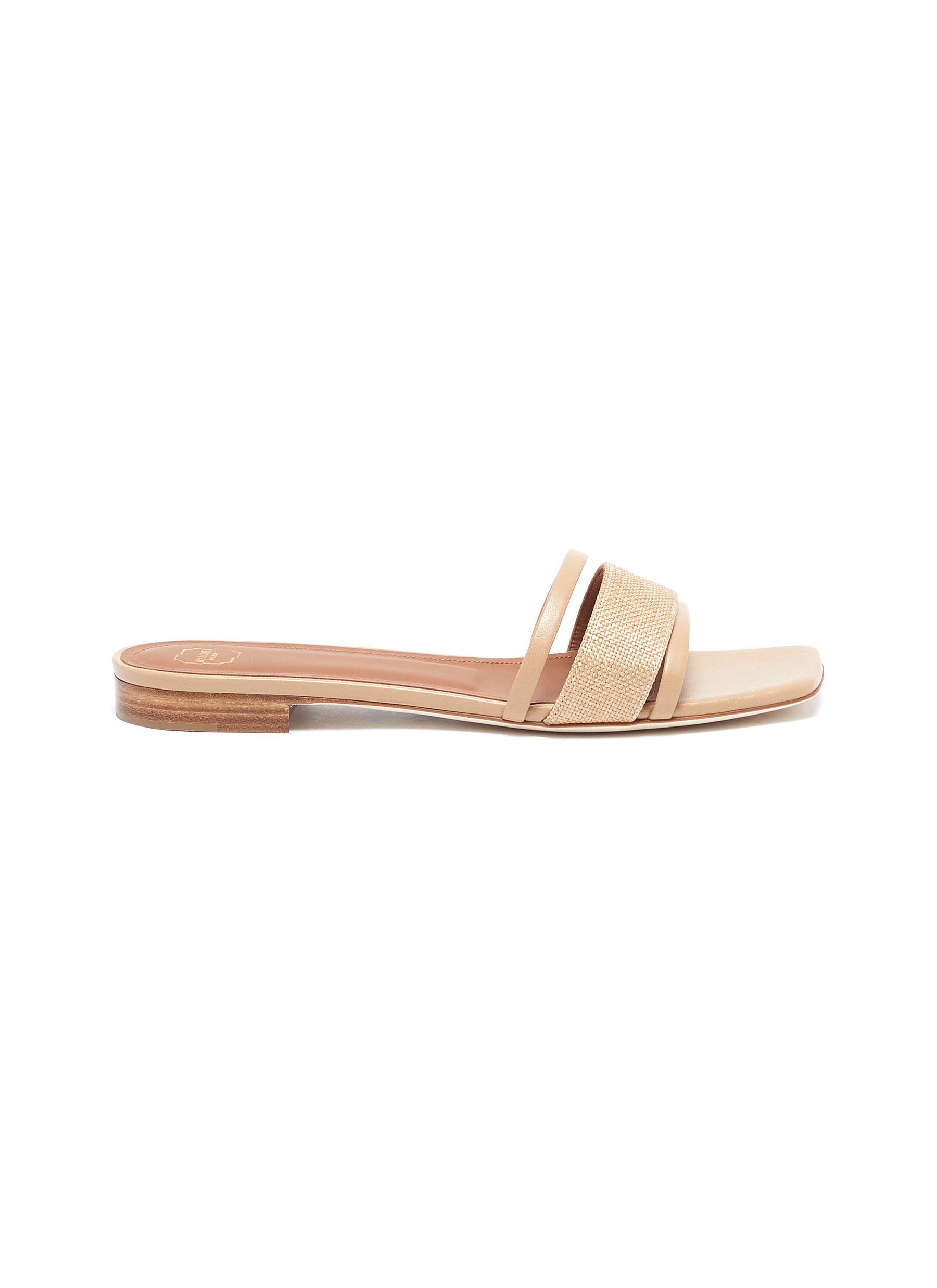 Malone Souliers Flats Demi raffia leather sandals