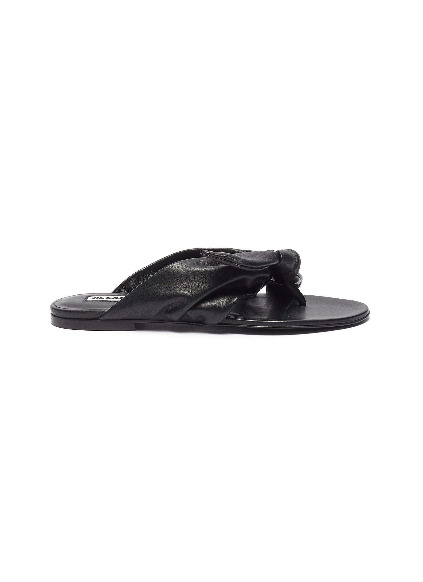 Jil Sander Flats Bow embellished flat leather sandals