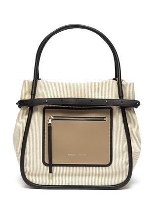 Main View - Click To Enlarge - PROENZA SCHOULER - 'INSIDE OUT' LEATHER PANEL CANVAS TOTE BAG