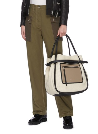 Figure View - Click To Enlarge - PROENZA SCHOULER - 'INSIDE OUT' LEATHER PANEL CANVAS TOTE BAG