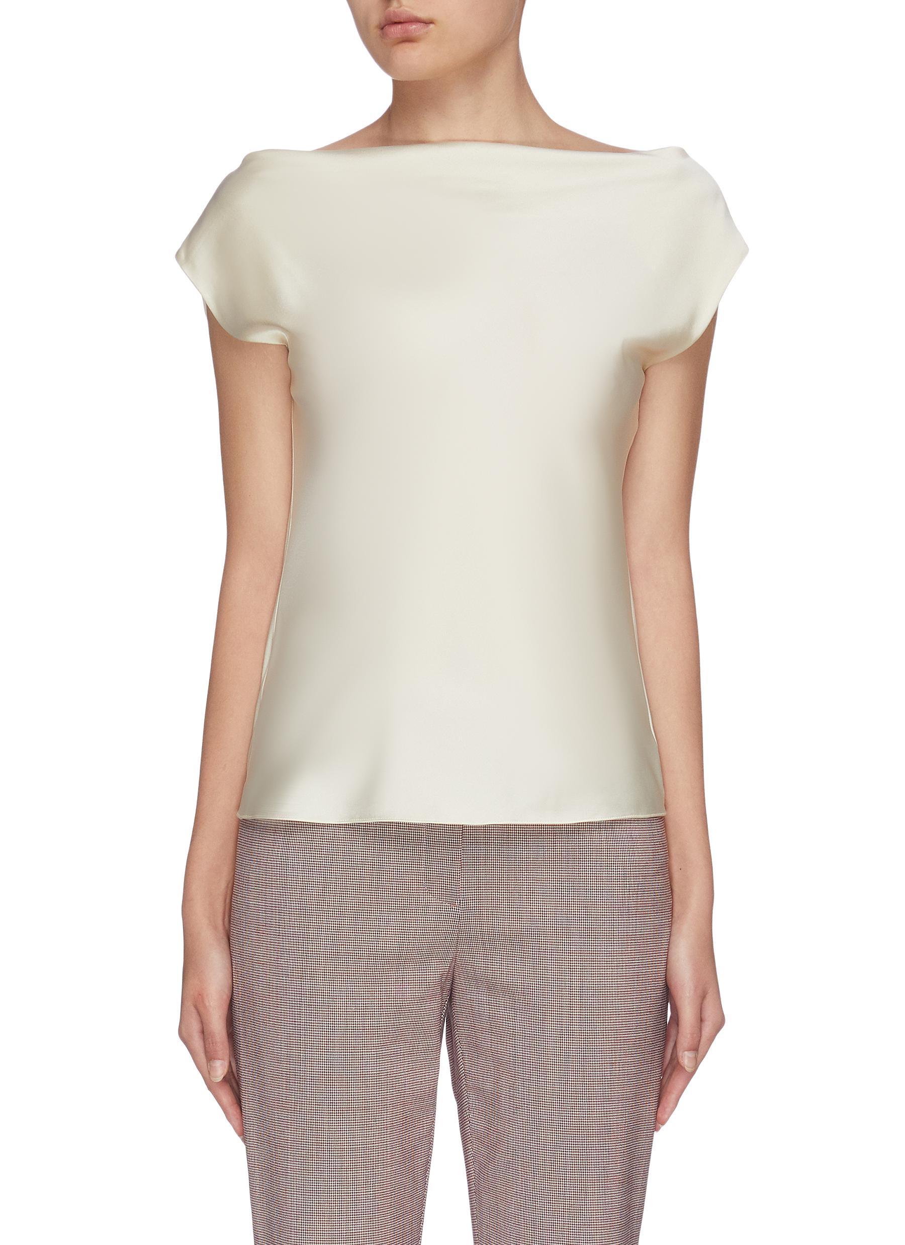 shop Theory Draped boat neck short sleeve top online
