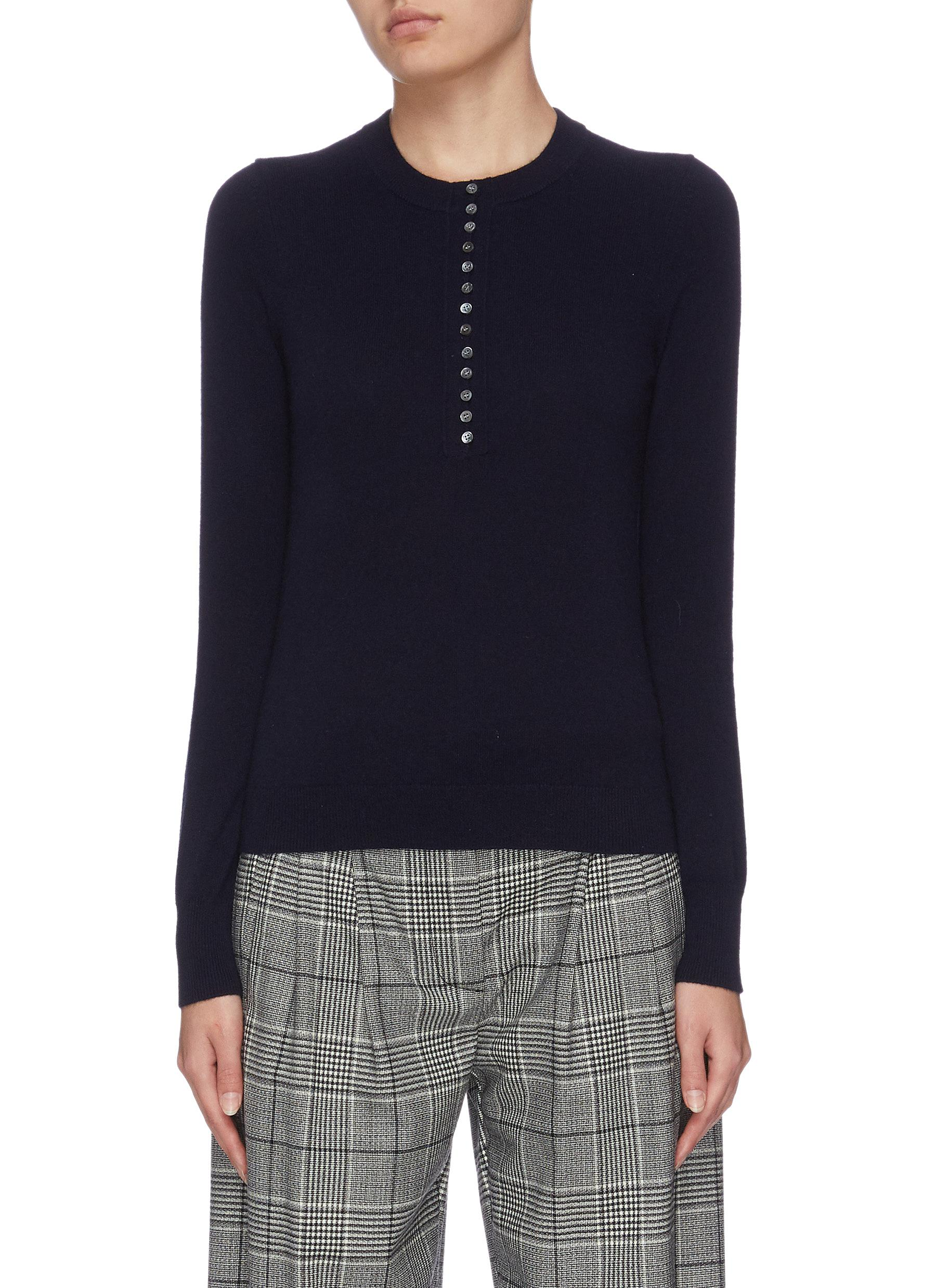 Buy Theory Knitwear 'Henley' button contrast cashmere top