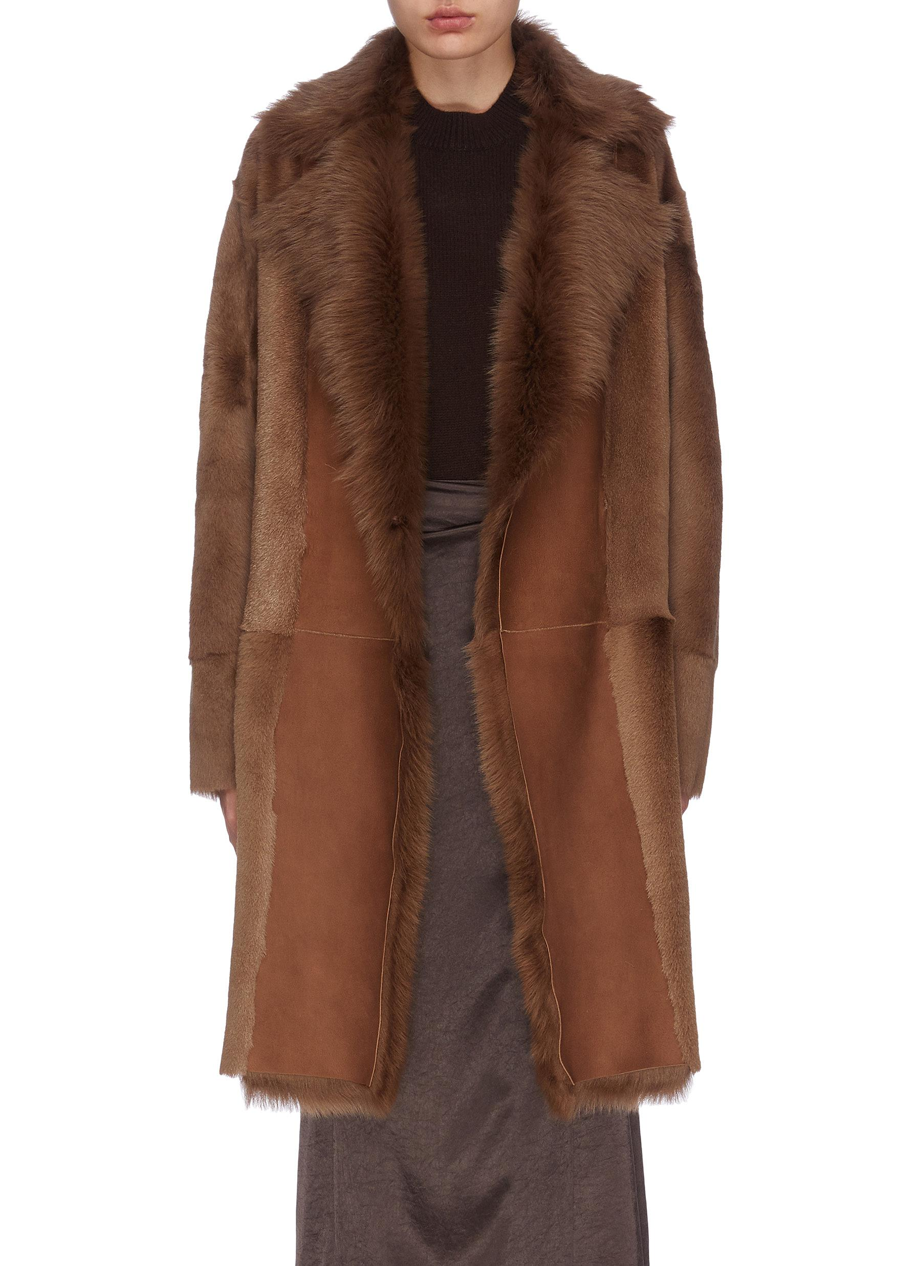 shop Theory 'Jathan' lambskin shearling panelled coat online