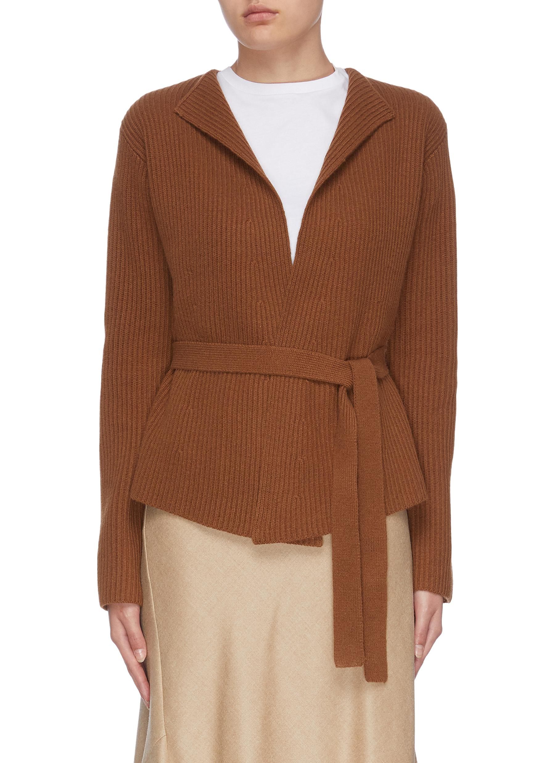 shop Theory Belted rib knit jacket online