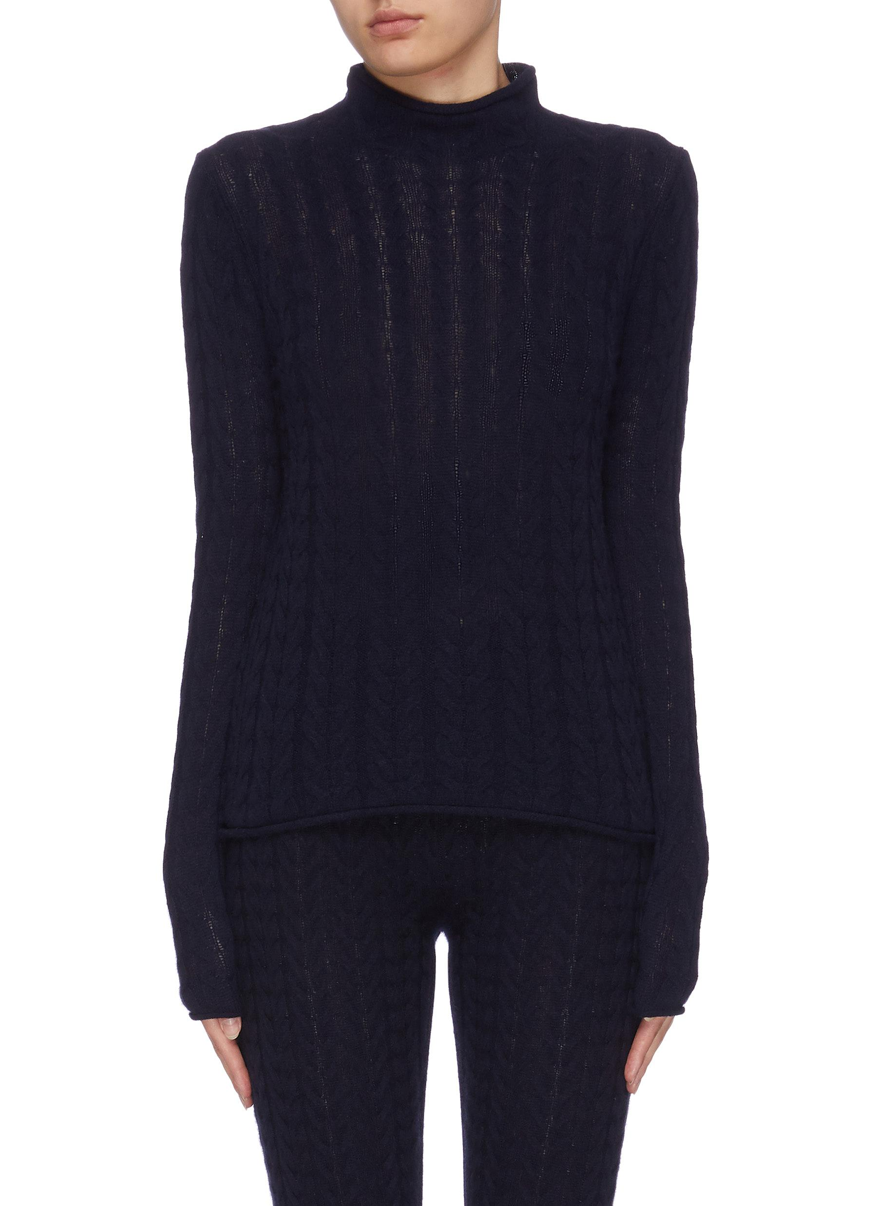 shop Theory Mock neck cable knit cashmere sweater online