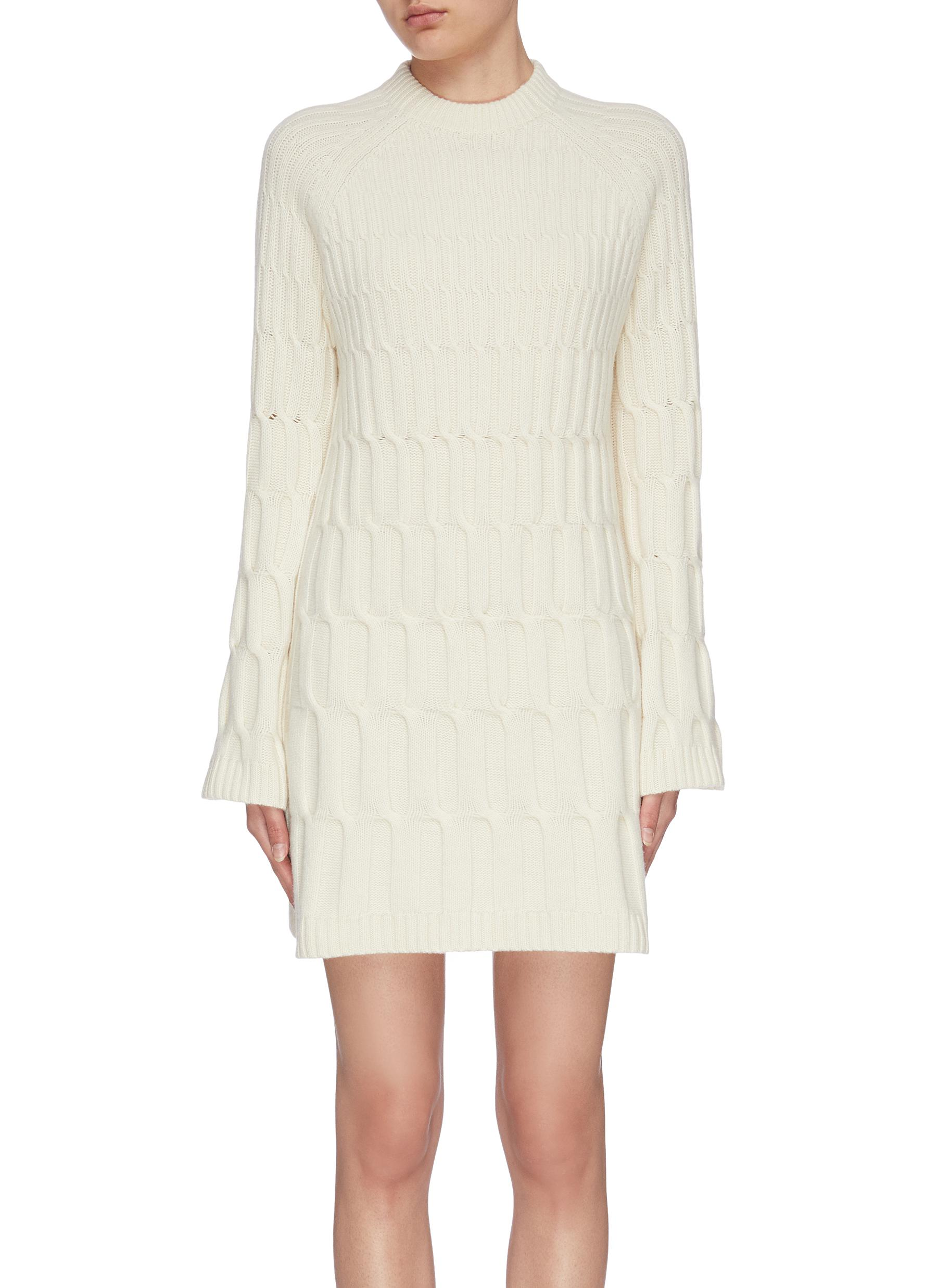 Buy Theory Dresses Flare sleeve cashmere wool cable knit dress