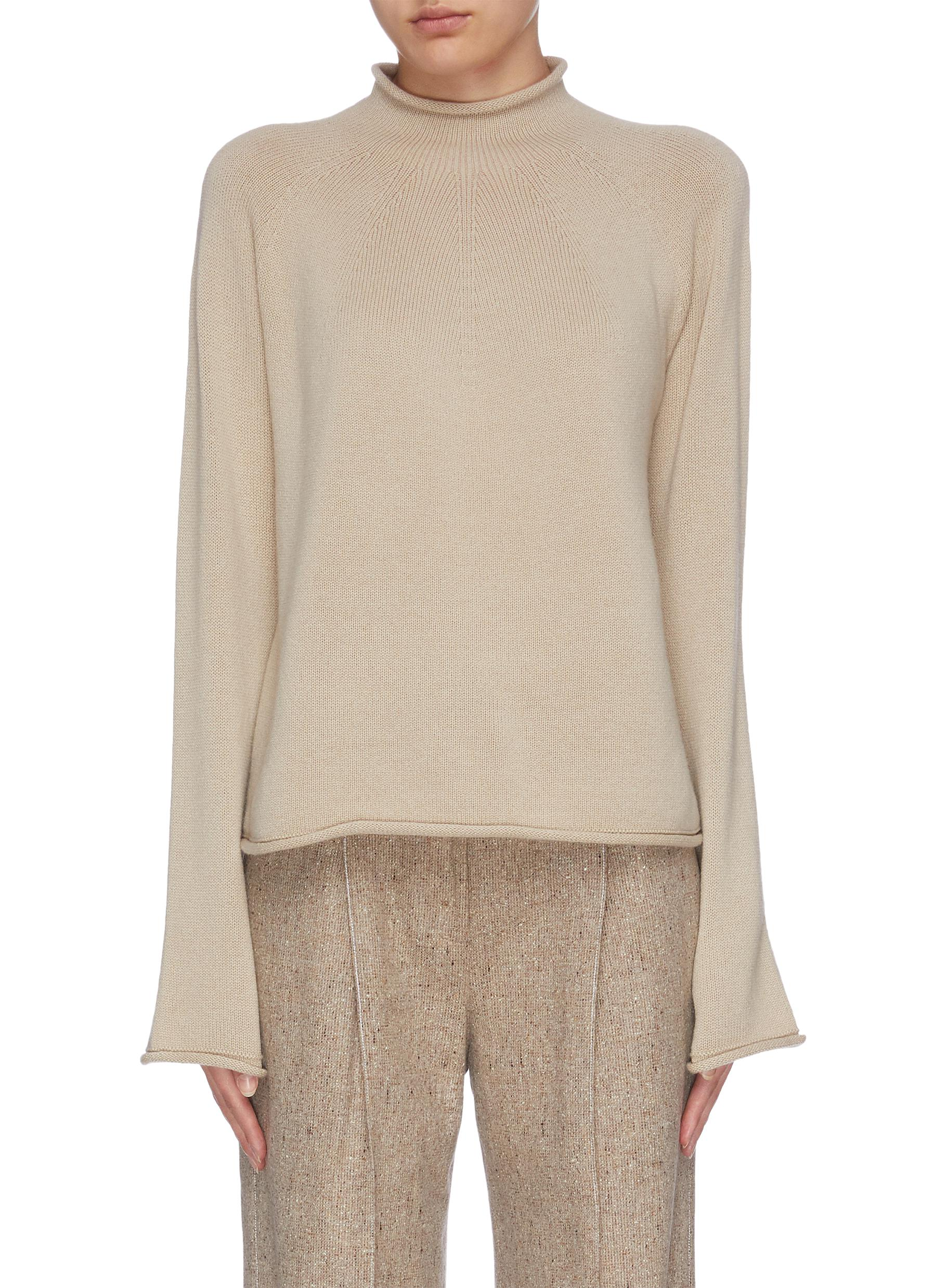 shop Theory Flared sleeve roll neck rib knit top online
