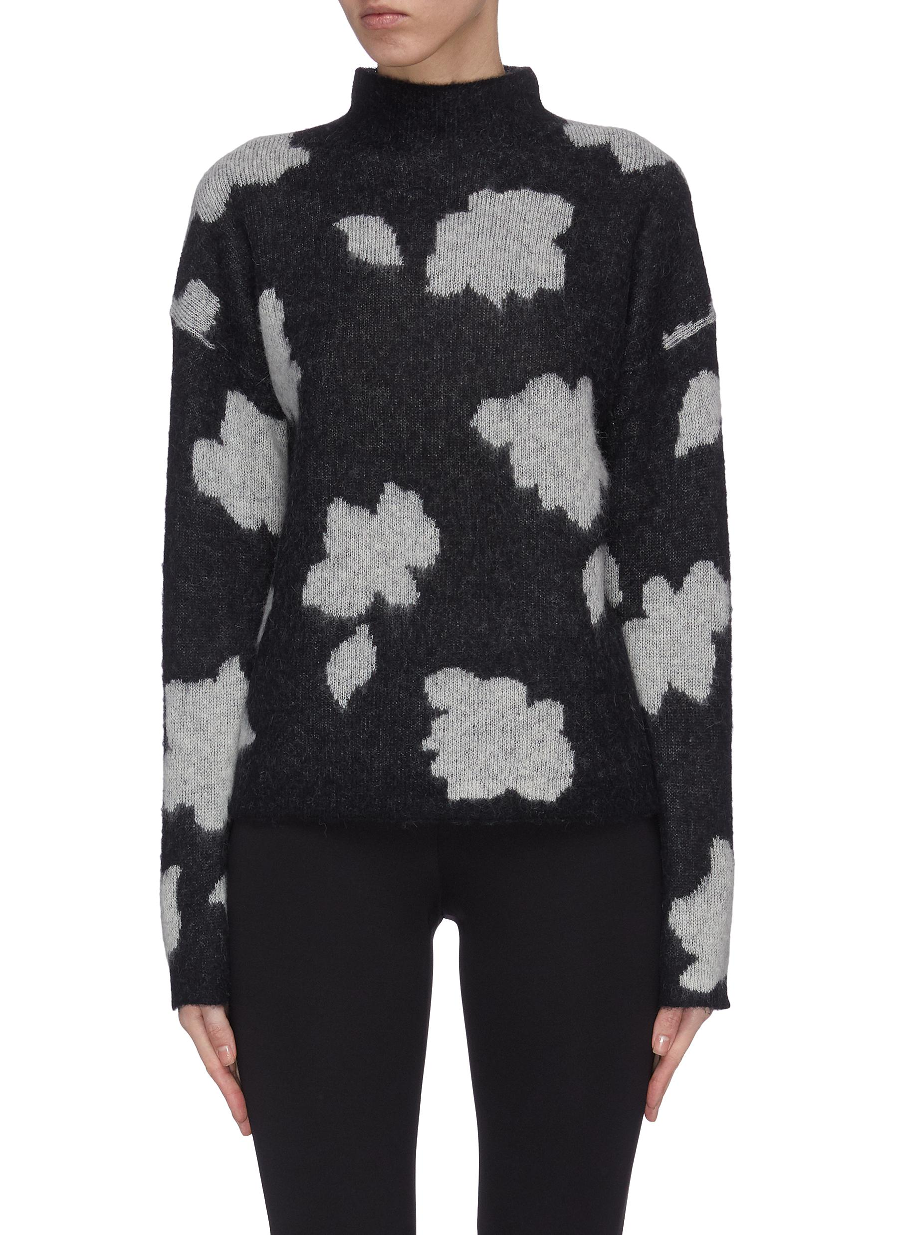 Buy Theory Knitwear 'Floral Po' intarsia mock neck sweater