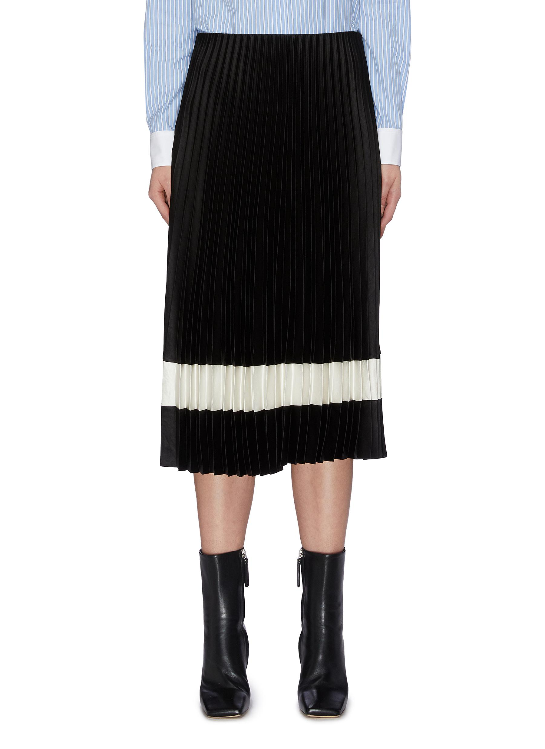 shop Theory Contrast stripe pleated skirt online