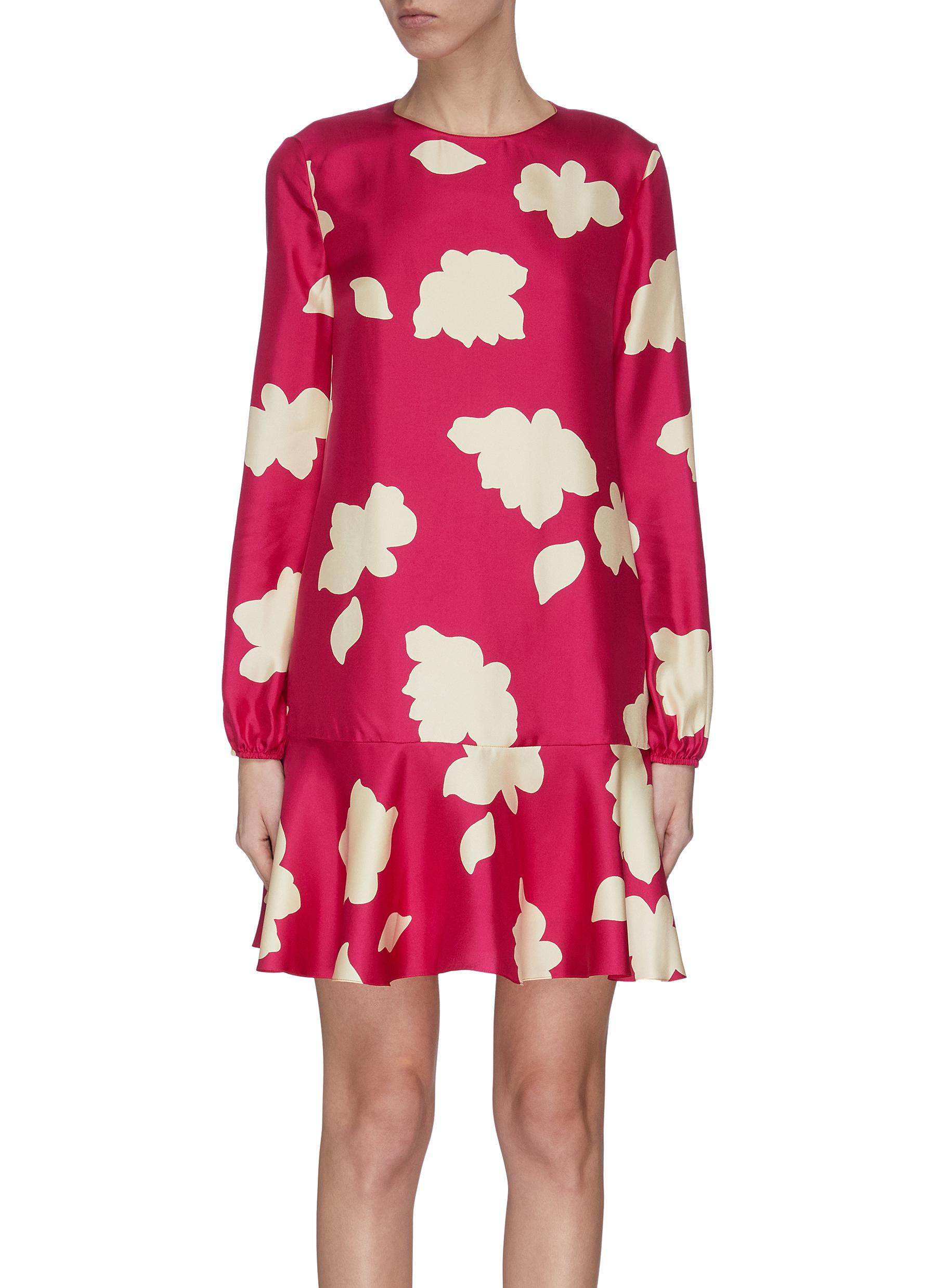 shop Theory Graphic print flared silk dress online