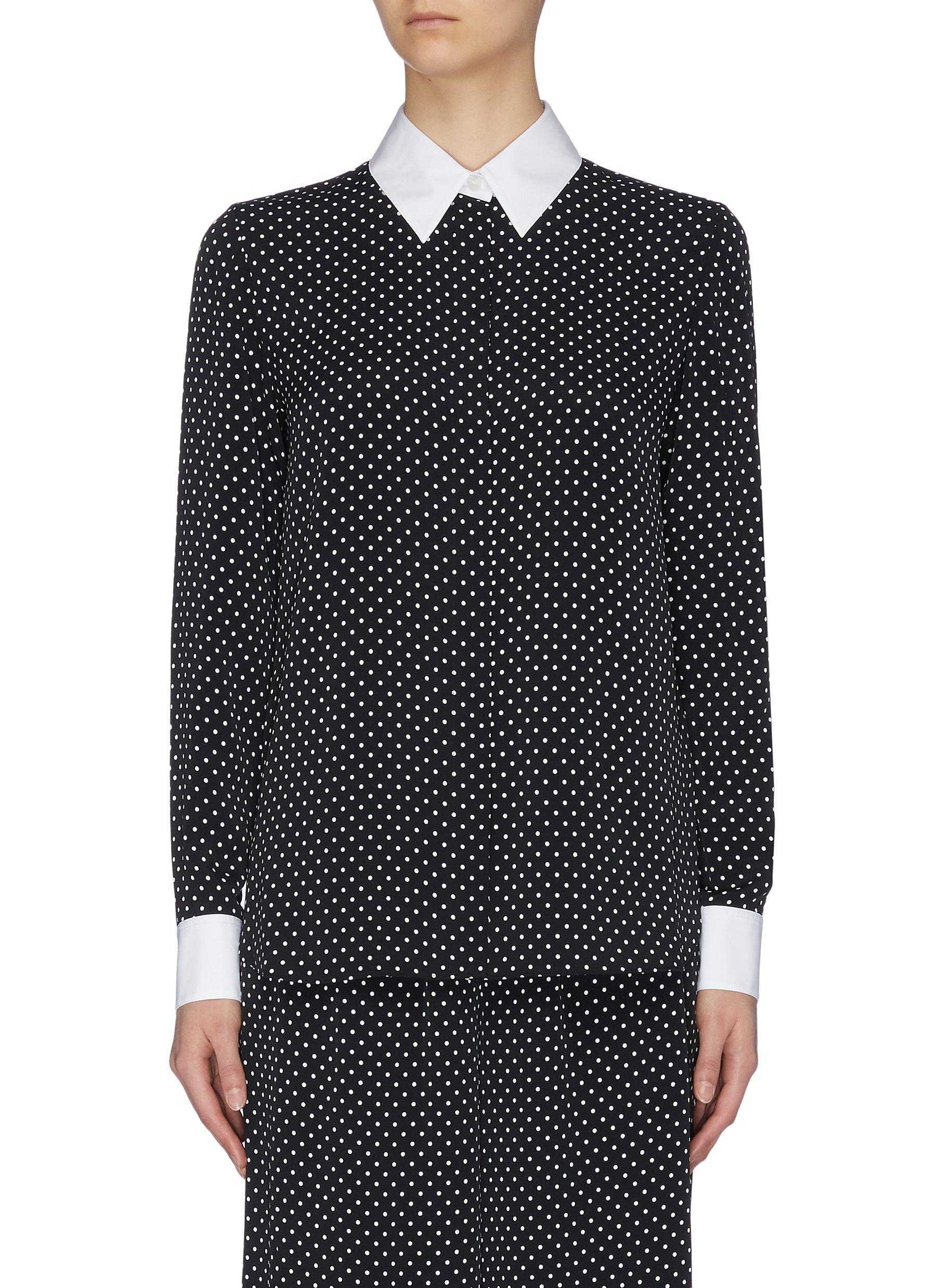 shop Theory Contrast collar and cuff polka dot shirt online