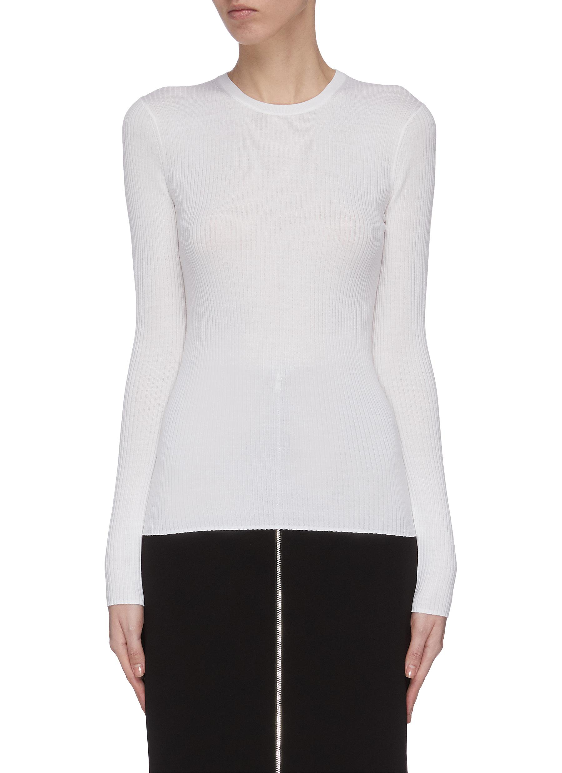shop Theory 'Mirzi Rw' fitted wool knit top online